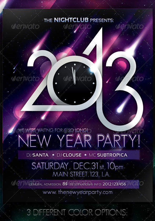 2013 New Year Party Poster Creare un Flyer per la tuo Party
